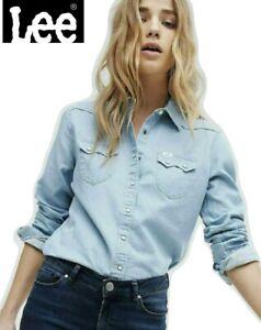 Lee Women's Long Sleeve Shirt Denim Blue Buttoned Western T-Shirt Top Blouse New