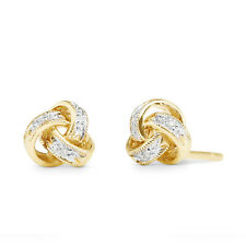 14k Yellow Gold Finish Round Cut Natural Diamond Love Knot Stud Earrings