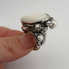 Handmade 925 Sterling Silver Mother of pearl & Pearl Ring size 8, Pearl Ring 102