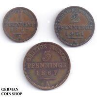 Set Königreich Preussen - 1 Pfennig, 2 & 3 Pfennige 1867 1871 A B Kupfer Prussia