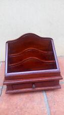 Ancien Porte-lettres, courrier en bois verni avec son tiroir et sur pieds