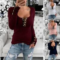 Size Womens Leopard Long Sleeve Ladies Low Cut T-Shirt Tops Tee Blouse Plus 8-24