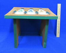 Handmade Wood Wooden Stool Snowman & Pine Tree Design Tan & Green Christmas
