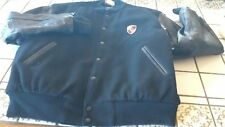 PORSCHE BLACK WOOL LEATHER RACING VARSITY BOMBER JACKET COAT MEDIUM MADE IN USA