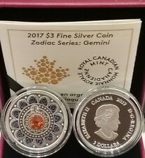 2017 Zodiac Series Gemini $3 Pure Silver Proof Coin Canada with Crystal
