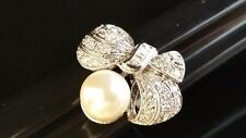 Clear Cubic Zirconia Size 7 Sterling Silver Bow with Pearl and