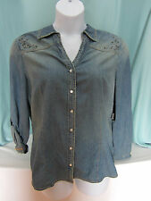 a.n.a. Blouse Shirt Blue Chambray XL Pearl Snaps V Neck Metal Studs NWT