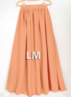 Women Coral Maxi Skirts Lady Retro Elastic Waist Girl Jupe Dress Chiffon 2 Layer