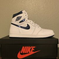Air Jordan 1 Retro High OG White Metallic Navy Size 9.5 2016 555088-105 NEW