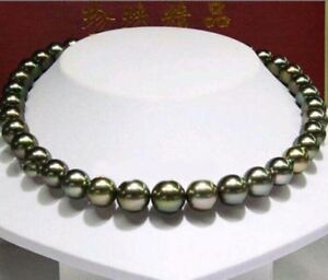 Natural beautiful 10-11MM Tahitian Black Pearl Necklace 18''