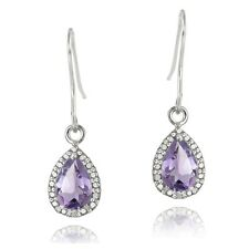 925 Silver 2.5ct Amethyst & Diamond Dangle Earrings