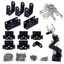 6 DOF Aluminium Mechanical Robotic Arm Clamp Claw Mount Robot Kit Black 47cm Set