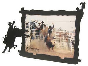 Bull Riding 8x10H Black Metal Picture Frame