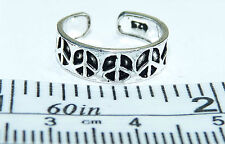 Sterling Silver Peace Sign Adjustable Toe Ring. Real Silver ! Free Ship in Usa !
