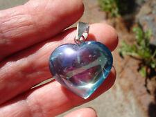 Tanzanite Aura Quartz-Heart Pendant Platinum-Indium Infused-Renew Regenerate!