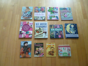12 Bücher:  Nähen, Stricken, Häkeln, Sticken
