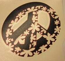 """Hawaiian Theme (Floral) Peace Sign Vinyl Decal Sticker 4"""" Diameter (Made in USA)"""