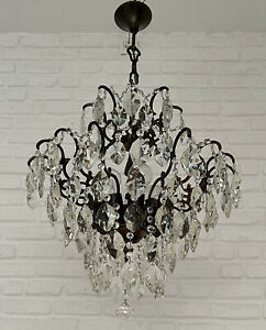 Antique Vintage Cast Brass & Crystals Spider Style HUGE Chandelier Ceiling Lamp