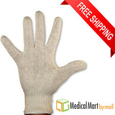 12 PAIRS 1 DOZEN NATURAL WHITE STRING KNIT POLY COTTON WORK GLOVES LARGE L