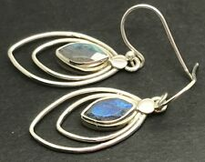 Labradorite marquise drop earrings solid Sterling Silver, actual one, UK Seller.