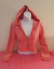 Coral Pink Velour Cropped Jacket Jogging Workout Yoga Party Casual