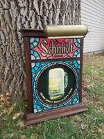 Vintage Rare Lighted Schmidt Stained Glass Beer Bar Sign Light, Excellent Condit