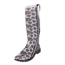 RRP €215 JUST CAVALLI Knee-High Wellington Boots EU37 UK4 US7 Snakeskin Pattern