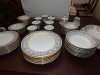 Noritake Polonaise 2045 Fine China Blue Gold Dinner Set as seen The Crown 61 pcs
