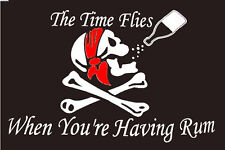 The Time Flies When You're Having Rum Flag 3x5 ft Pirate Skull Crossbones Party