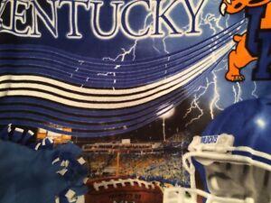 University Of Kentucky Fleece no sew tie Blanket U Of K. Blue Wildcat Football