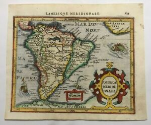 SOUTH AMERICA 1613 MERCATOR HONDIUS ATLAS MINOR NICE UNUSUAL ANTIQUE MAP