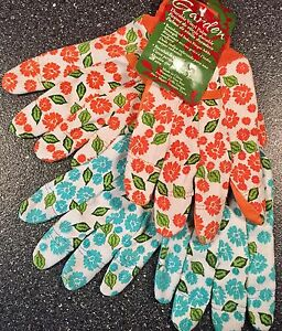 GARDEN GLOVES (2 Pairs) Durable Vinyl Palm, Breathable Cotton, Women's: One Size