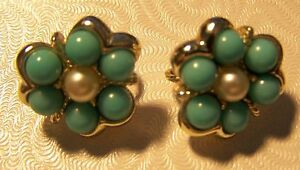 Vintage Earrings Sarah Coventry Signed Blue Bead Pearl Gold Tone Clip On