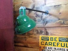 Vintage Angle Shade Green Porcelain Wall Light Gas Station Industrial Barn Lamp