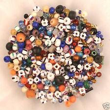 *** CLOSEOUT *** Mix Glass Wood E-Beads, Striped White Blue, etc. 1 oz (~28 gr)