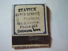 Matchbook Cvr Stavick Super Service Station Ph 923 Dubuque IA #88