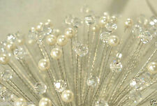 """10 Stems 6mm clear Crystal & Ivory Pearl  6"""" Silver wire Bouquet Stamens Picks"""