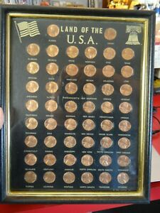Land Of The USA 1974 Lincoln Pennies Full Set State Stamped On Front Collection