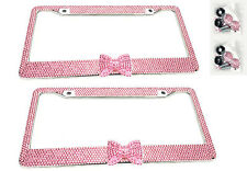 2 x Pink Bow Tie Bling Diamond Crystal Metal License Plate Frame For Honda Acura