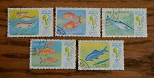 Serie 5 francobolli tematici pesci Laos 1983