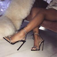 UK Women Peep Toe Ankle Strap Rhinestone Sandals High Stilettos Heel Party Shoes