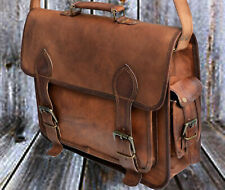 "16"" Vintage real Leather Tote Mens Briefcase Laptop Case Messenger Shoulder Bag"