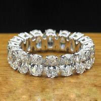 5.00 ct Oval Cut Diamond Full Eternity Wedding Band 14k White Gold Over