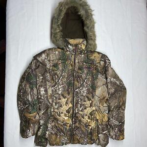 Realtree Xtra Camo Jacket Womens Hood Puffer Coat Zip up Pink Fleece Lined Large