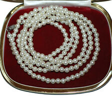 Vintage Pearls with silver clasp 60 inches long 1950's