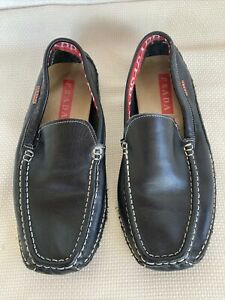 Prada Black Leather Driving Mocs Loafers Shoes mens 42