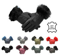Womens Black Ladies Leather Gloves With Fur Trim Fleece Lined Winter M L XL