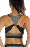 icyzone Workout Sports Bras for Women - Fitness Athletic, Charcoal, Size X-Large