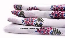 2.5 Yard Indian Block Printed Pure Cotton Fabric Floral Design Craft Sewing Boho