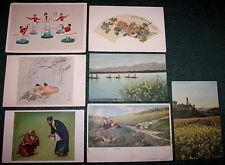 1950s 7 Vintage Postcards CHINA (6 CHINESE + 1 UKRAINIAN) FOLK ART Mao era